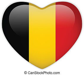 Belgium Flag Heart Glossy Button - Vector - Belgium Flag...