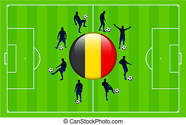 belgium Flag Icon Internet Button with Soccer Match