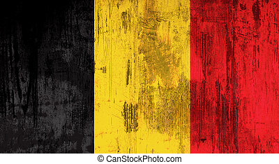 Illustration of an old and dirty Belgium flag