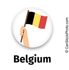 Belgium flag in hand, round icon with shadow isolated on...