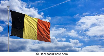 Belgium flag on a blue sky background. 3d illustration