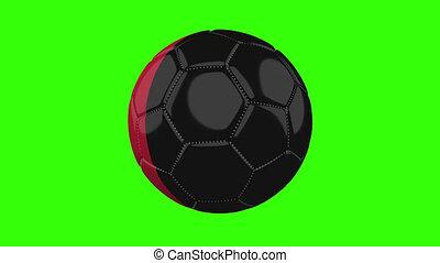 Belgium flag on ball rotates on transparent green alpha background, loop