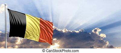 Belgium flag on blue sky. 3d illustration