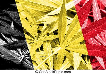 Belgium Flag on cannabis background. Drug policy....