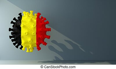 Belgium flag on covid-19 virus with copy space