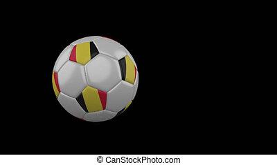 Belgium flag on flying soccer ball on transparent background, alpha channel