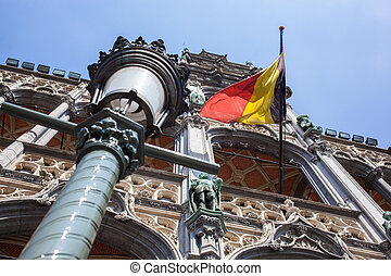 Belgium flag on Grand Place in Brussels