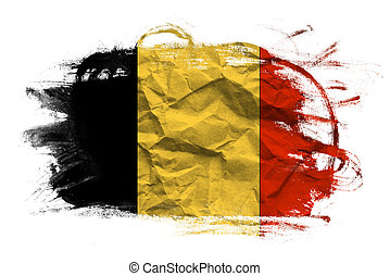 Belgium flag on grunge crumpled paper.