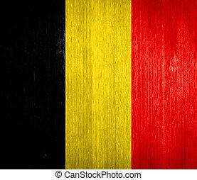 Belgium Flag on wood background