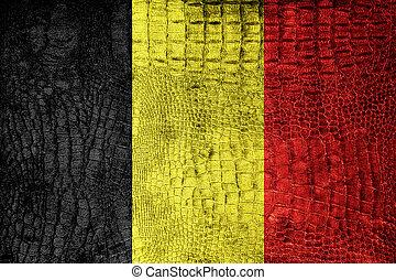 Belgium Flag painted on luxury crocodile texture