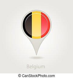 Belgium flag pin map icon, vector illustration