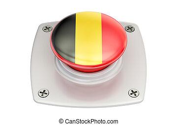 Belgium flag push button, 3D rendering