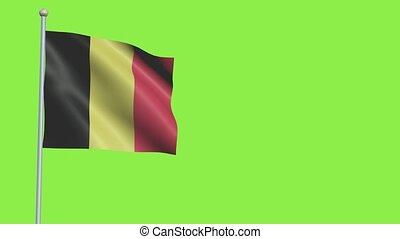 Belgium Flag in 3D render with green screen background in Slow Motion