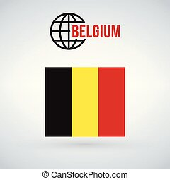 Belgium flag, vector illustration isolated on modern background with shadow.