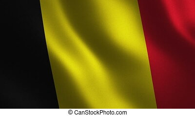 Belgium flag waving 3d. Abstract background. Loop animation.