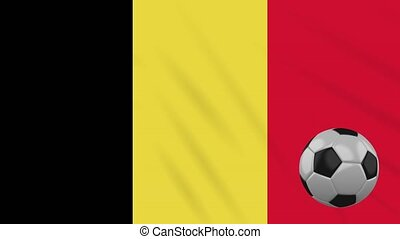 Belgium flag and soccer ball rotates against background of a waving cloth, loop