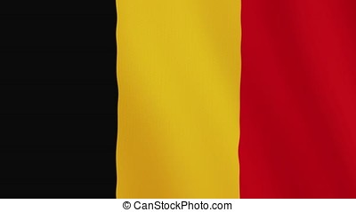 Belgium flag waving animation. Full Screen. Symbol of the country.