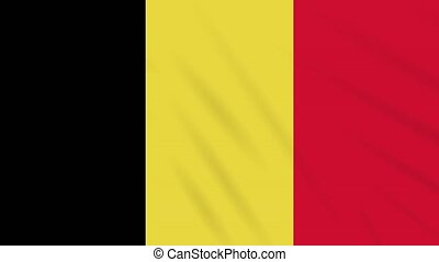 Belgium flag waving cloth background, loop