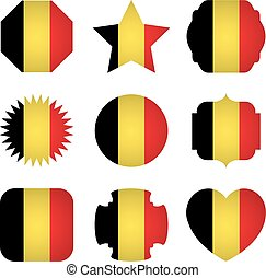 Belgium flag with different shapes on a white background