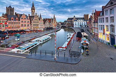 Belgium. Ghent. City embankment at sunset.