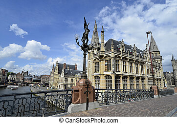 Belgium, Ghent, historical downtown Graslei and Koronlei...