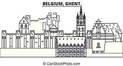 Belgium, Ghent line skyline vector illustration. Belgium, Ghent linear cityscape with famous landmarks, city sights, vector design landscape.