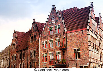 Belgium, Ghent, walls of ancient houses