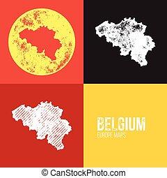 Belgium Grunge Retro Map