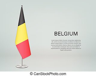 Belgium hanging flag on stand. Template for politic conference banner