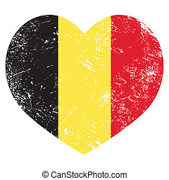 Belgium heart retro flag - Belgian heart shaped flag grunge...