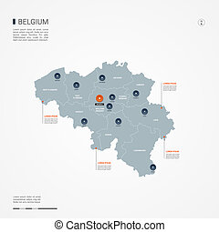 Belgium infographic map vector illustration.