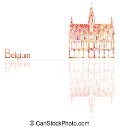 belgium, jelkép, vektor, ábra