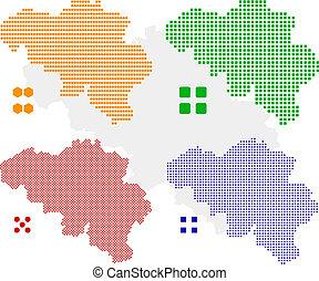belgium - layered vector pixel map of Belgium.
