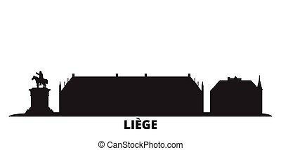 Belgium, Liege city skyline isolated vector illustration. ...