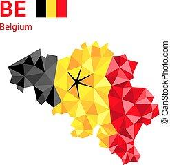 belgium lobogó, térkép, alatt, polygonal, geometriai, style.