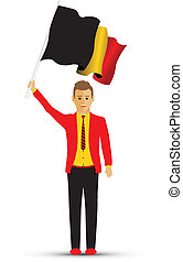 Belgium man waving a flag