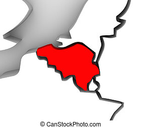 Belgium Map 3d Illustrated Abstract Country Europe Continent