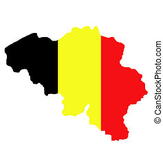 Belgium map with national flag colors isolated on white background with clipping path.