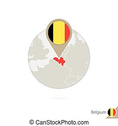 Belgium map and flag in circle. Map of Belgium, Belgium flag...