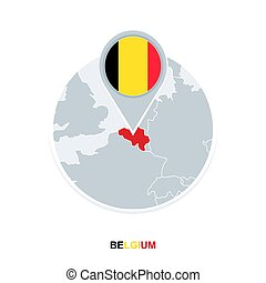 Belgium map and flag, vector map icon with highlighted Belgium