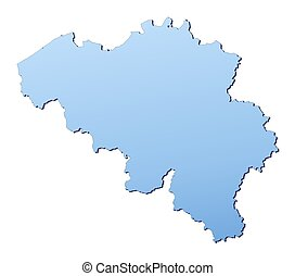 Belgium map filled with light blue gradient. High resolution...