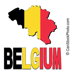 Belgium map flag and text