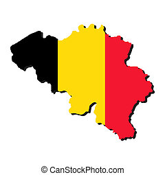 Belgium map flag - map of Belgium with their flag...