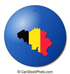 Belgium map flag on abstract globe illustration