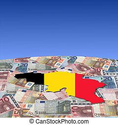 Belgium map flag on euros