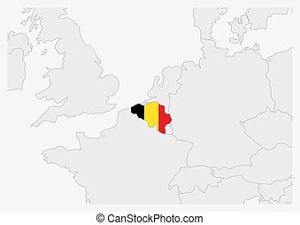 Belgium map highlighted in Belgium flag colors, gray map with neighboring countries.