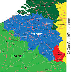 Highly detailed vector map of Belgium with administrative regions, main cities and roads.