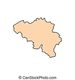 Belgium map icon, cartoon style