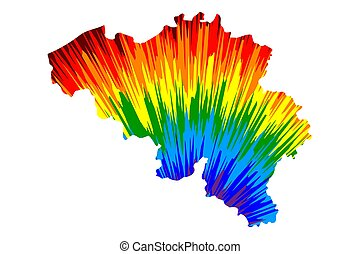 Belgium - map is designed rainbow abstract colorful pattern