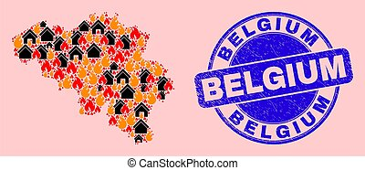 Fire and realty collage Belgium map and Belgium unclean stamp print. Vector collage Belgium map is made from random burning cities. Belgium map collage is formed for revolution templates.